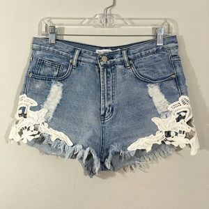 Toby Heart Ginger Distressed Embroidered Shorts